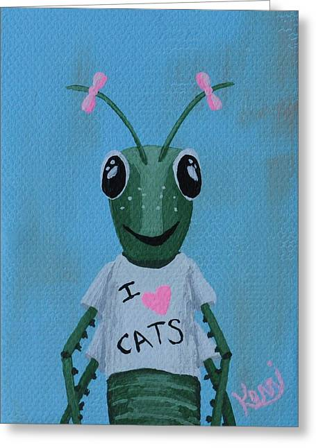 Grasshopper Paintings Greeting Cards - Gigi the Grasshoppers School Picture Greeting Card by Kerri Ertman