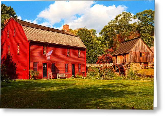 Old Mill Scenes Paintings Greeting Cards - Gilbert Stuart Museum Greeting Card by Lourry Legarde