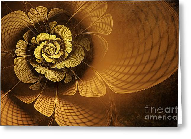 Fractal Flower Greeting Cards - Gilded Flower Greeting Card by John Edwards