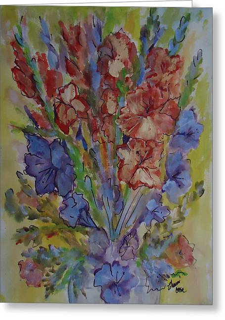 Gladiolas Mixed Media Greeting Cards - Gilded Flowers Greeting Card by Charme Curtin