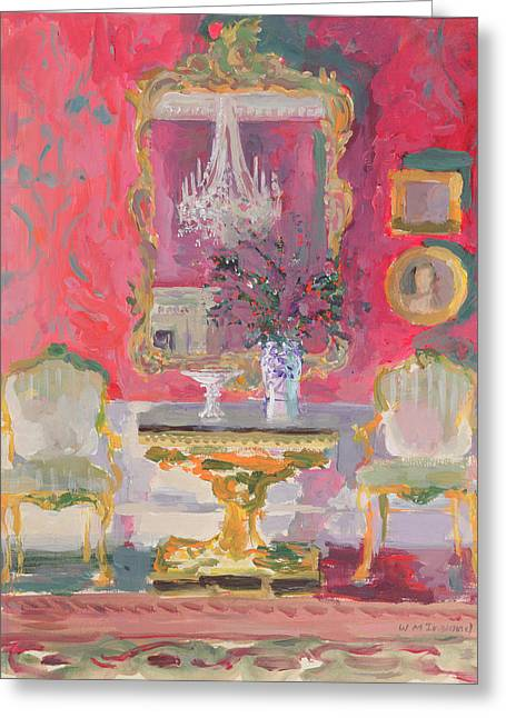 Interior Still Life Paintings Greeting Cards - Gilded Mirror Greeting Card by William Ireland