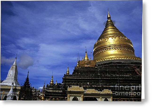 Medieval Temple Greeting Cards - Gilded stupa of the Shwezigon Pagoda in Bagan Greeting Card by Sami Sarkis
