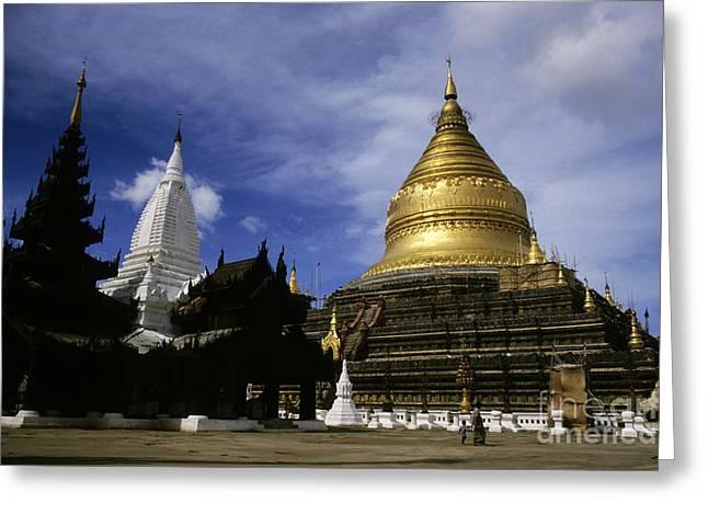 Medieval Temple Greeting Cards - Gilded stupa of the Shwezigon Pagoda Greeting Card by Sami Sarkis