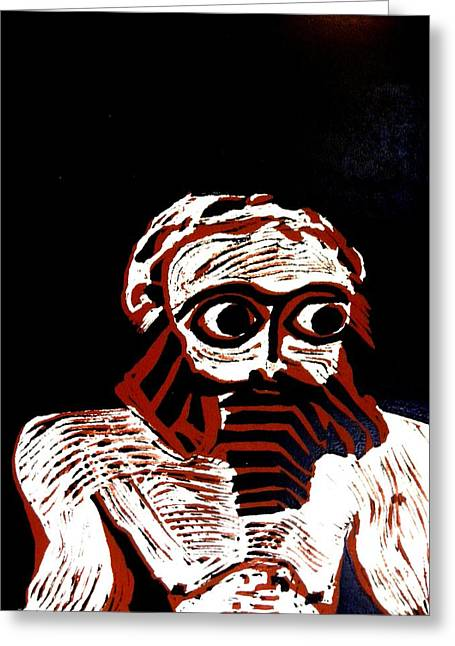 White Beard Mixed Media Greeting Cards - Gilgamesh Greeting Card by Patricia Bigelow