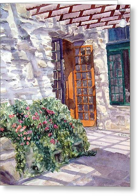 Gillette Castle Patio Greeting Card by Katherine  Berlin