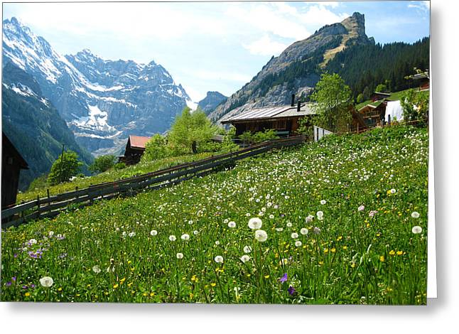 Shack Greeting Cards - Gimmelwald Greeting Card by Scott Brindle