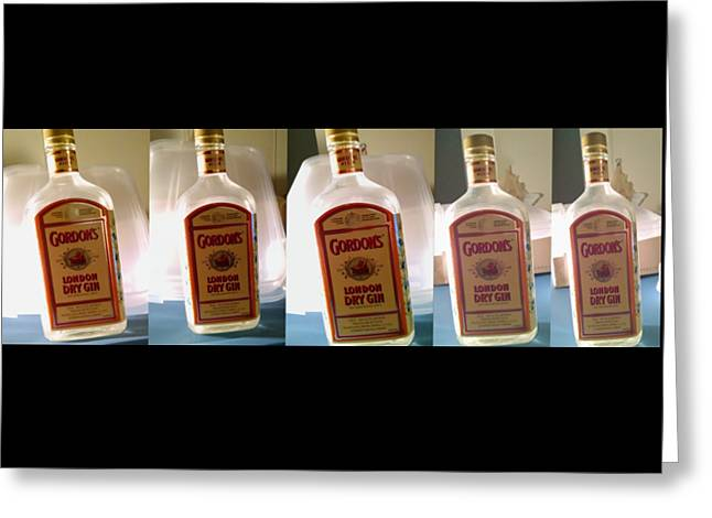 Glass Bottle Greeting Cards - Gin Quins Greeting Card by Billy Cooper Rice
