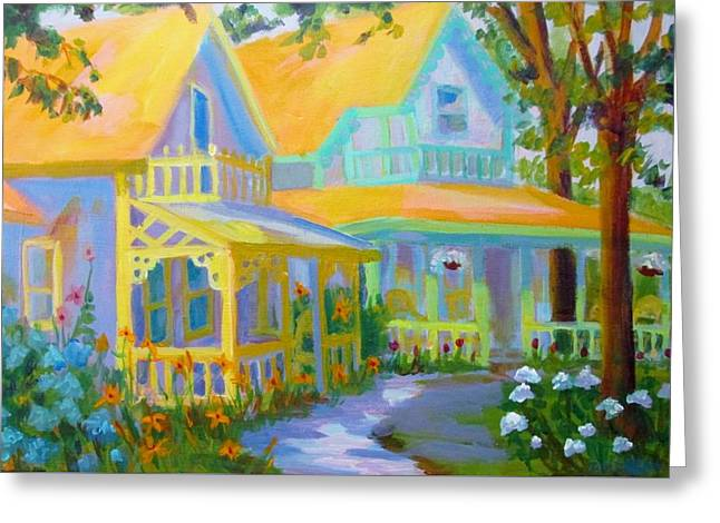 Cape Cod Mass Paintings Greeting Cards - Ginger Bread Houses with Path Greeting Card by Linda Emerson