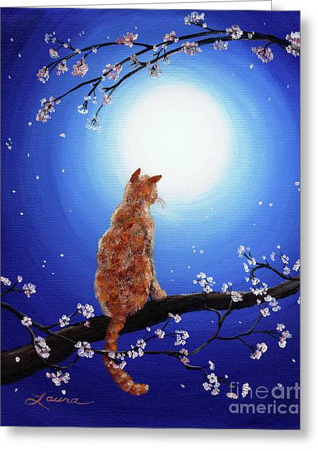 Orange Tabby Paintings Greeting Cards - Ginger Cat in Blue Moonlight Greeting Card by Laura Iverson