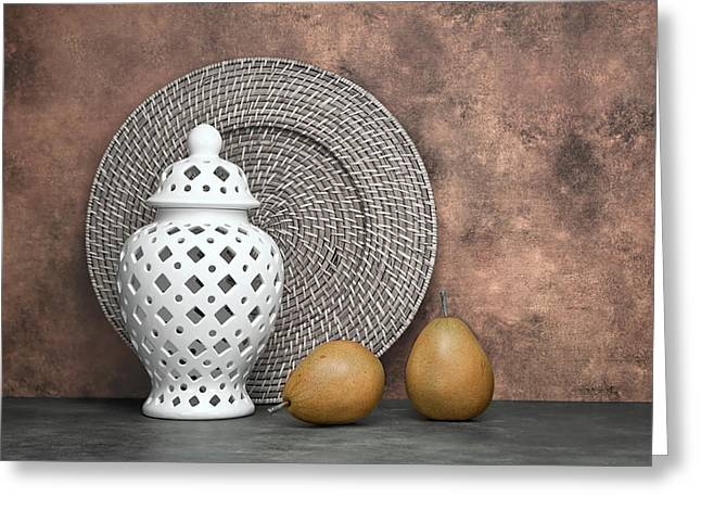 Jar Greeting Cards - Ginger Jar with Pears I Greeting Card by Tom Mc Nemar