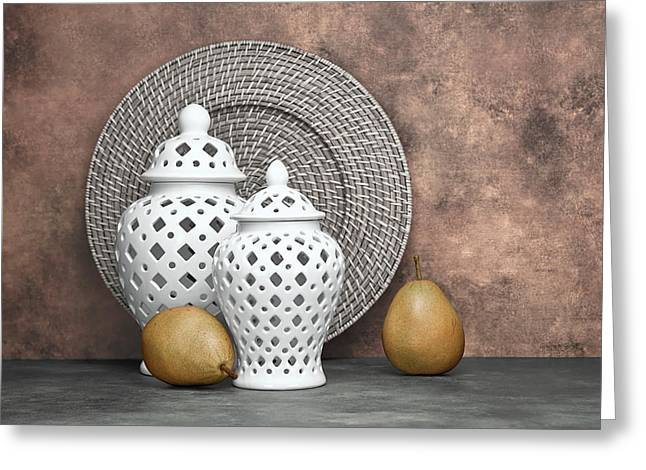 Jars Greeting Cards - Ginger Jar with Pears II Greeting Card by Tom Mc Nemar