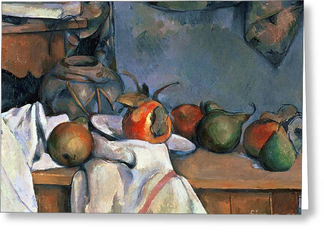 Ginger Pot With Pomegranate And Pears Greeting Card by Cezanne