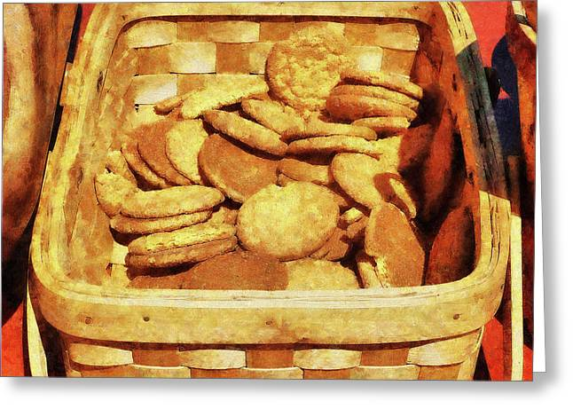 Cookies Greeting Cards - Ginger Snap Cookies in Basket Greeting Card by Susan Savad