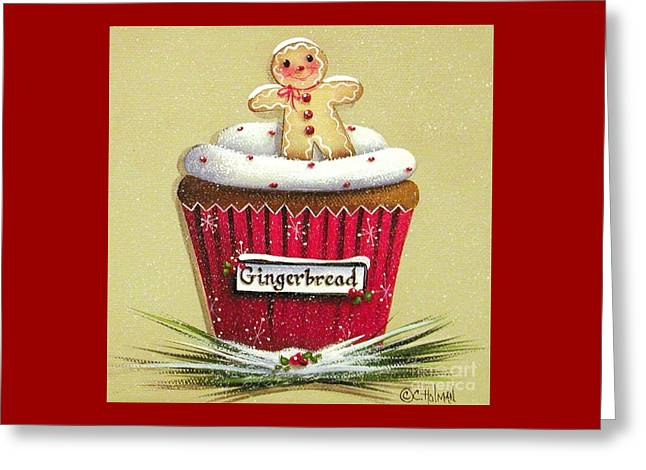 Primitive Greeting Cards - Gingerbread Cookie Cupcake Greeting Card by Catherine Holman