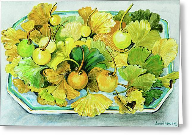 Ginkgo, Fruit And Leaves Greeting Card by Joan Thewsey