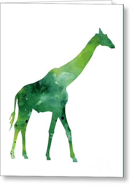 Giraffe African Animals Gift Idea Greeting Card by Joanna Szmerdt