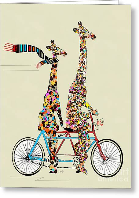 Modern Digital Art Digital Art Greeting Cards - Giraffe Days Lets Tandem Greeting Card by Bri Buckley