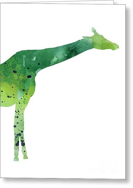 Giraffe Drawing Watercolor Art Print Greeting Card by Joanna Szmerdt