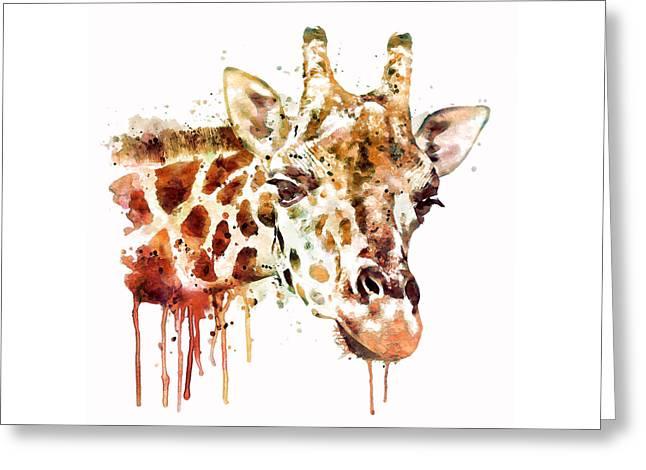 Giraffe Head Greeting Card by Marian Voicu