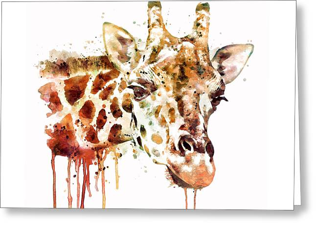 Giraffe Head Greeting Card by Marian Voicu