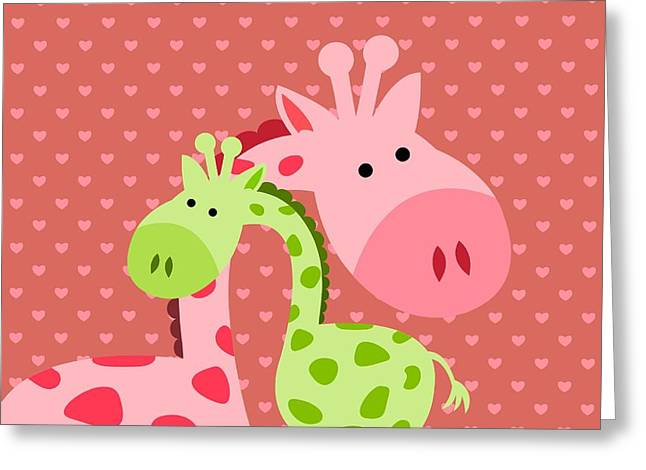 Giraffe  Hugs Greeting Card by Chastity Hoff
