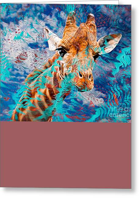 Printmaking Greeting Cards - Giraffe Greeting Card by Laura L Leatherwood