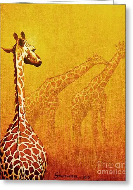 Jerome Stumphauzer Greeting Cards - Giraffe Memories Greeting Card by Jerome Stumphauzer