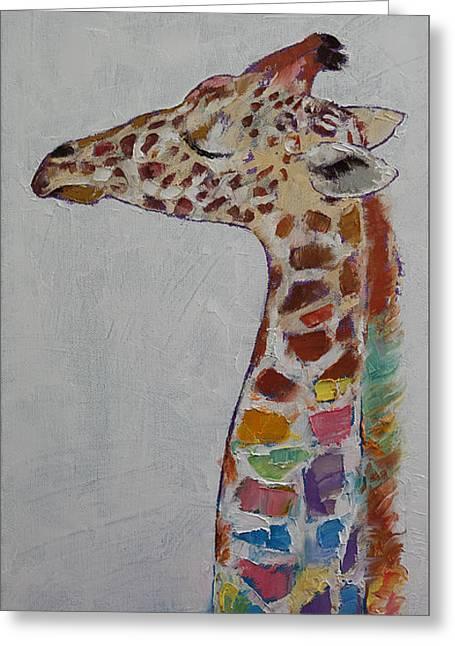 Giraffe Greeting Card by Michael Creese