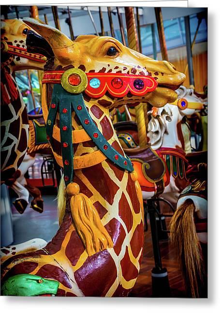 Giraffe Ride Greeting Card by Garry Gay