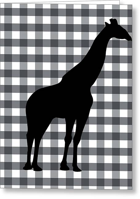Cabin Wall Greeting Cards - Giraffe Silhouette Greeting Card by Linda Woods