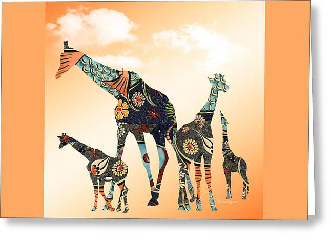 Abstract Digital Mixed Media Greeting Cards - Giraffe Stroll Greeting Card by EricaMaxine  Price