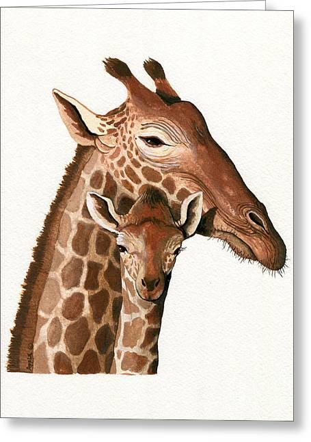 Linda Apple Paintings Greeting Cards - Giraffe wildlife illustration painting Greeting Card by Linda Apple