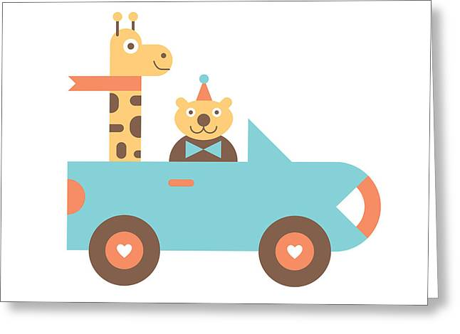 Animal Car Pool Greeting Card by Mitch Frey