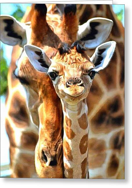 Love The Animal Greeting Cards - Giraffes Greeting Card by Catherine Lott