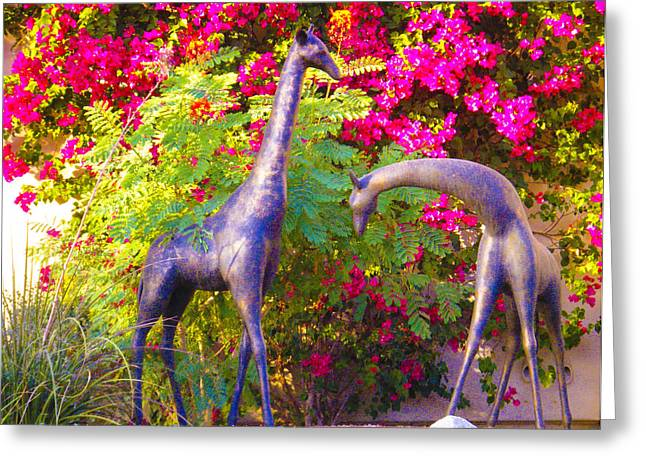 Forgotten Sculptures Greeting Cards - Giraffes in the Garden Greeting Card by Tamara Kulish