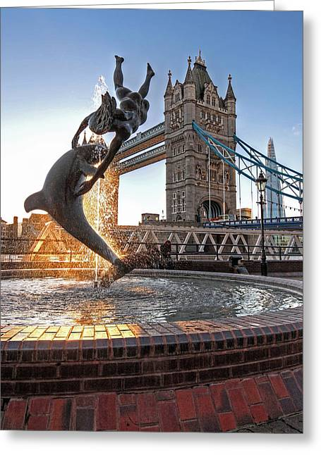 Girl And Dolphin At Tower Bridge Greeting Card by Gill Billington
