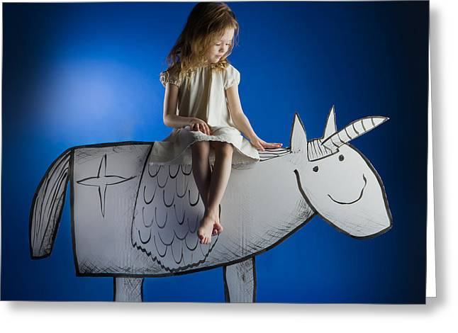 Unicorns Greeting Cards - Girl And Her Unicorn Greeting Card by Eva Miliuniene