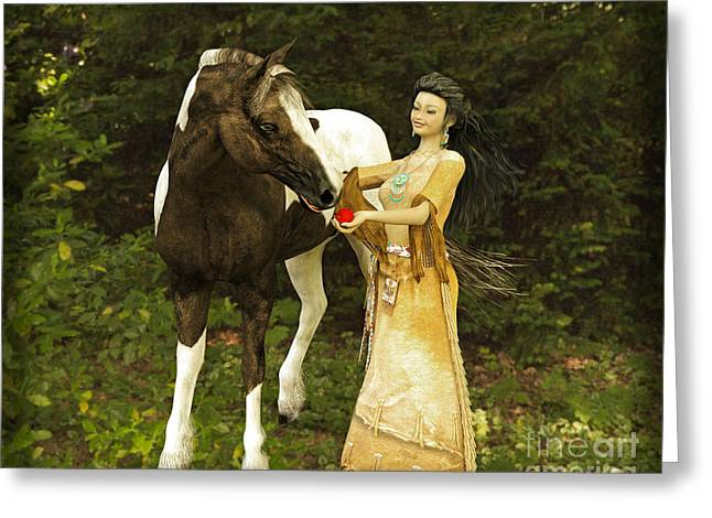 Girl And Animals Greeting Cards - Girl and Horse Greeting Card by Methune Hively