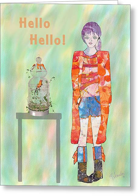 Table Greeting Cards - Girl and Parrot Greeting Card by Rosalie Scanlon