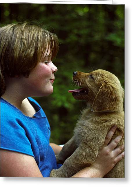 Puppies Photographs Greeting Cards - Girl and Puppy Engaging Greeting Card by Sally Weigand