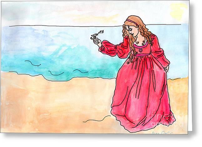 Girl And Singing Fish Greeting Card by Debbie Davidsohn