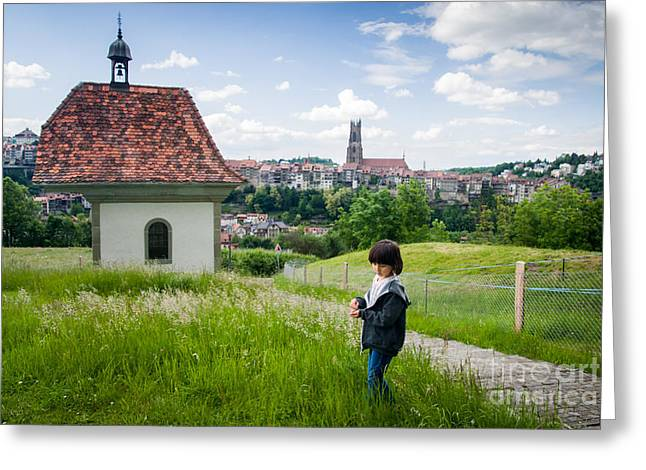 Swiss Landscape Greeting Cards - Girl and the chapel Greeting Card by Ning Mosberger-Tang