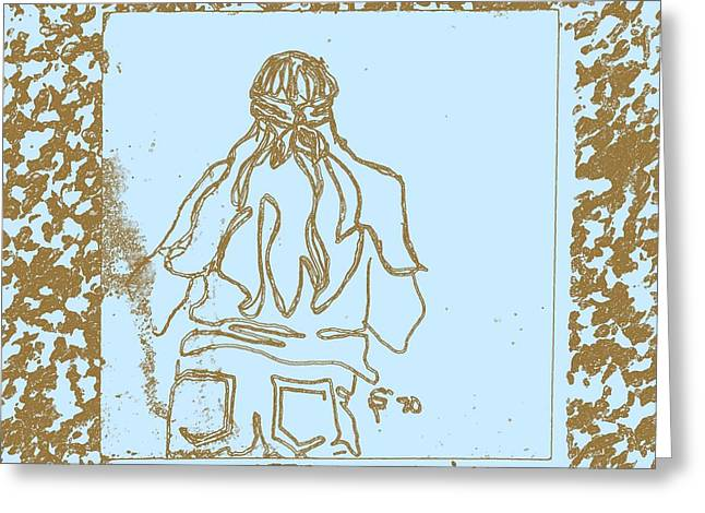 Kansas City Drawings Greeting Cards - Girl at Fifth Dimension Concert in Park in Blue and Brown Greeting Card by Sheri Parris