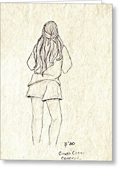 Kansas City Drawings Greeting Cards - Girl at Fifth Dimension Concert in Park Greeting Card by Sheri Parris