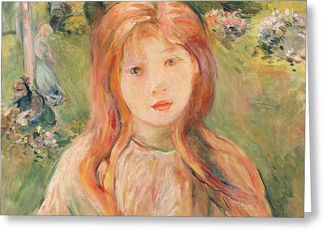Girl At Mesnil Greeting Card by Berthe Morisot