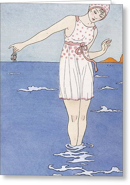 Girl At The Beach Greeting Card by Georges Barbier