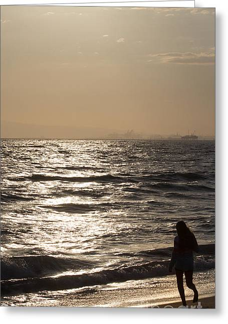 California Beach Greeting Cards - Girl at the Beach Greeting Card by Laura L Leatherwood
