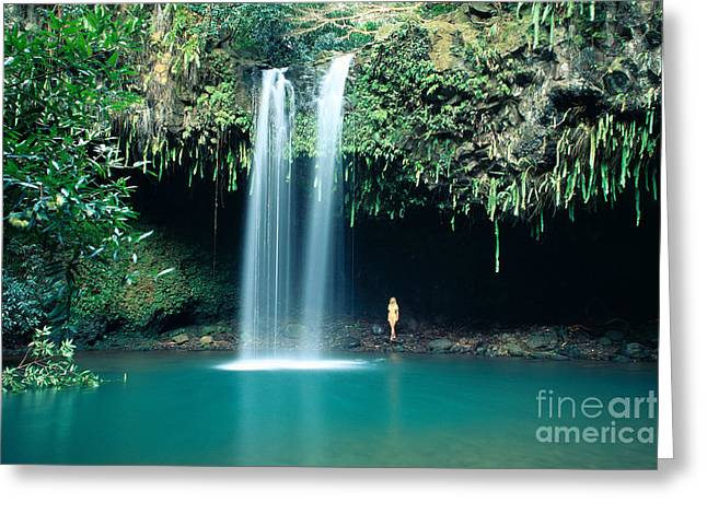 Beautiful Creek Greeting Cards - Girl At Twin Falls Greeting Card by Dave Fleetham - Printscapes
