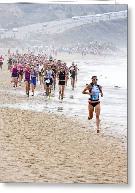 Beach Photography Greeting Cards - Girl athletes run on beach Greeting Card by Vivian Frerichs