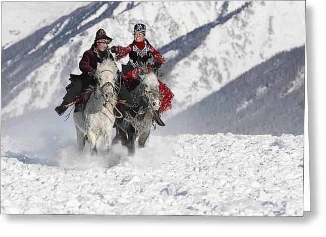 Horse Riding Greeting Cards - Girl Chasing Greeting Card by Bj Yang